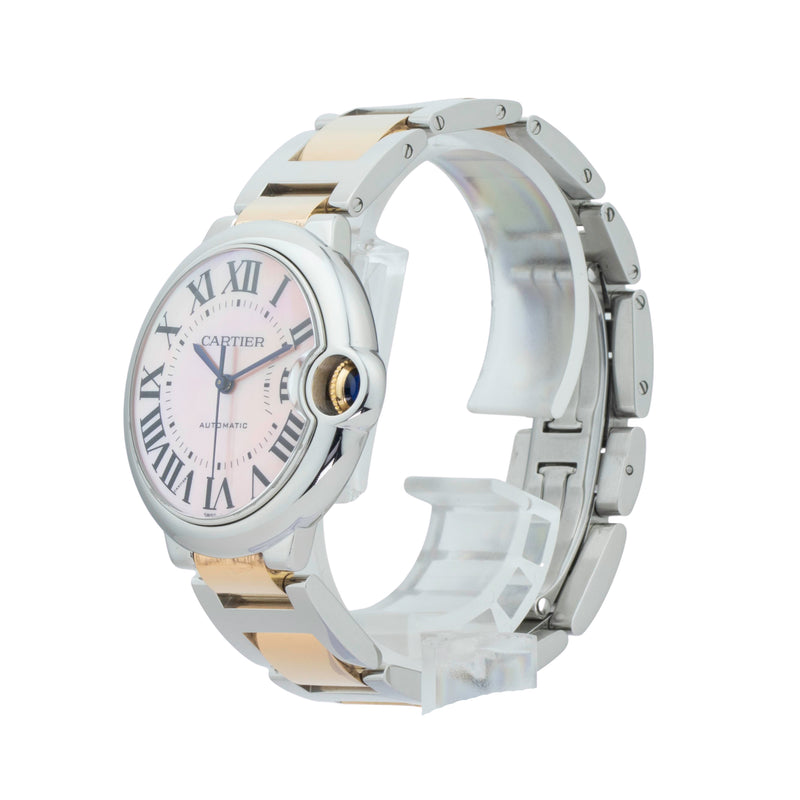 CARTIER BALLON BLEU 36MM W69012Z4 . Brand Cartier Model Ballon Bleu Model Number W2BB0011 / 3284 Gender Ladies Movement Automatic  Case Size 36mm Wrist Size 7.25 inches Case Material Stainless Steel Bezel Stainless Steel Crystal Sapphire Bracelet Stainless steel & 18kt Rose gold double deployent clasp Dial Color Pink mother of pearl w/roman numerals Condition Excellent Approximate Age 2010 - Present Box Comes with SLW Presentation Box Paper No Warranty comes with one year SLW warranty Notes ENTER Notes