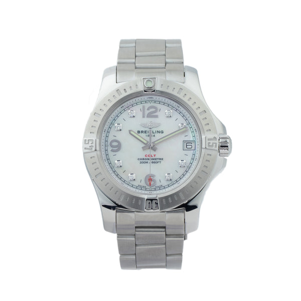 BREITLING COLT 36MM A7438911/A771 . Brand Breitling Model Colt Model Number A7438911/A771 Gender Unisex Movement Quartz Case Size 36mm Wrist Size 7 inches Case Material Stainless Steel Bezel Stainless Steel Crystal Sapphire Bracelet Stainless Steel Dial Color Mother of pearl w/diamond markers Condition Excellent Approximate Age 2010 - present Box Yes Paper Yes - Card dated 10/2018 Warranty Comes with one year SLW warranty Notes ENTER Notes