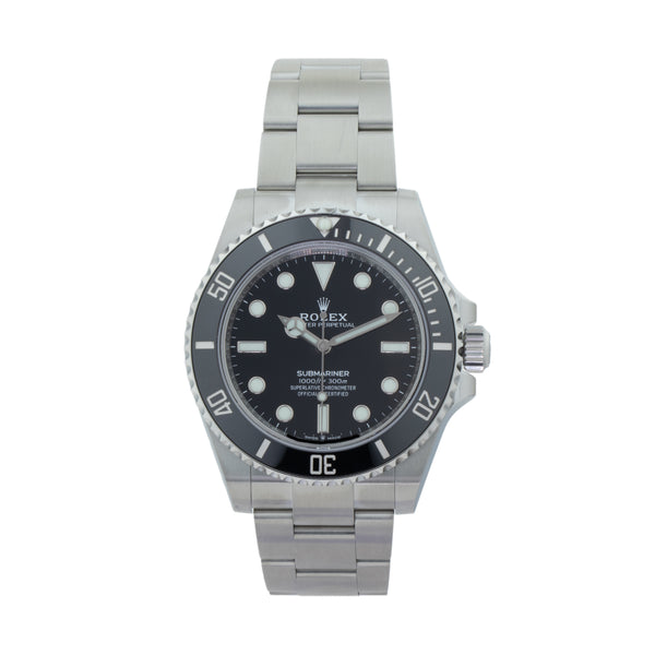 ROLEX SUBMARINER 41 124060 . Brand Rolex Model Submariner Model Number 124060 Gender Men Movement Automatic 3230 Case Size 41mm Wrist Size 7.5 inches Case Material Stainless Steel Bezel Stainless Steel w/ Ceramic insert Crystal Sapphire  Bracelet Stainless Steel oyster Dial  Black Condition Unworn Approximate Age 2020 Box Yes Paper Yes - 2020 Warranty comes with one year SLW warranty Notes ENTER Notes