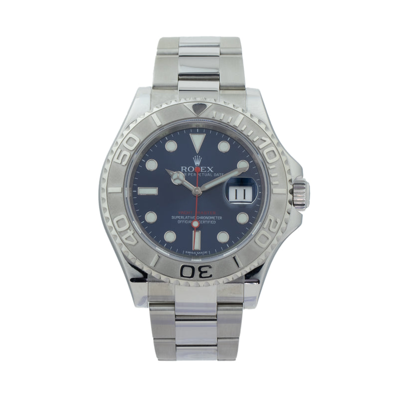 ROLEX YACHT-MASTER 116622 . Brand Rolex Model Yacht-Master Model Number 116622 Gender Mens/Unisex Movement Automatic 3135 Case Size 40mm  Wrist Size 7.50 inches Case Material Stainless Steel Bezel Platinum Crystal Sapphire  Bracelet Stainless Steel oyster w flip-lock clasp Dial  Blue Condition Excellent Approximate Age 2018 Box No Paper Yes - Card dated 05/2018 Warranty Comes with one year SLW warranty Notes ENTER Notes
