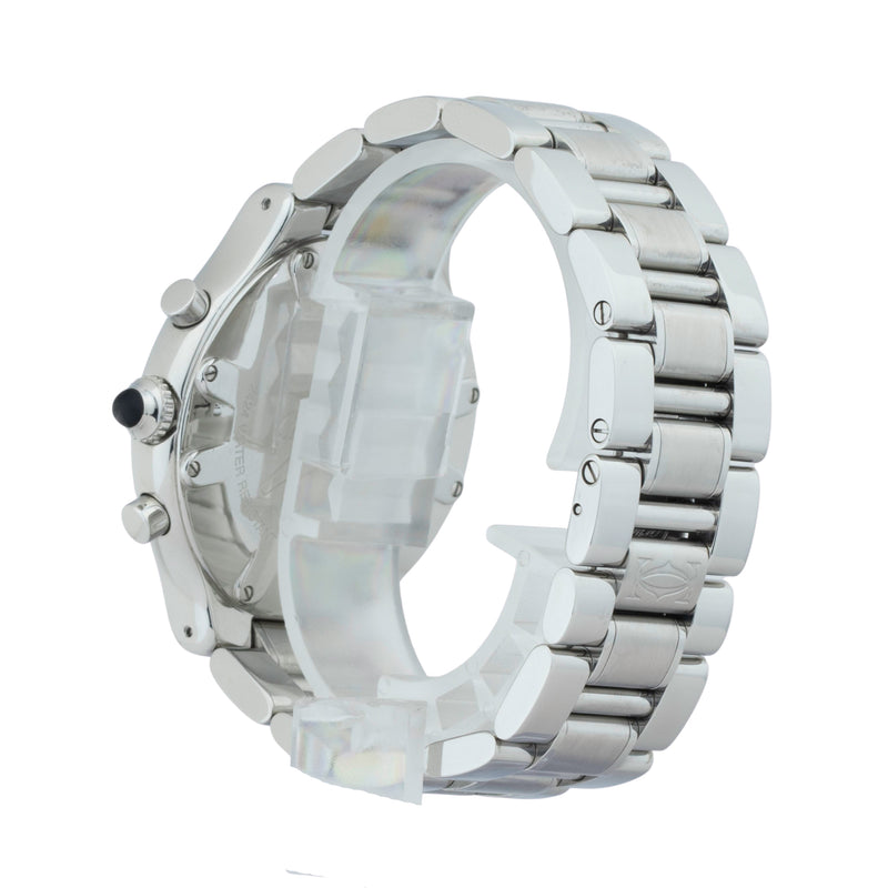 CARTIER MUST 21 CHRONOSCAPH W10172T2 . Brand Cartier Model Must 21 Model Number W10172T2 / 2424 Gender Unisex Movement Quartz Case Size 38mm Wrist Size 6 inches Case Material Stainless Steel Bezel Stainless Steel Crystal Sapphire Bracelet Stainless steel Dial  Cartier black Condition Very Good Approximate Age 2010 - Present Box Comes with SLW Presentation Box Paper No Warranty comes with one year SLW warranty Notes ENTER Notes