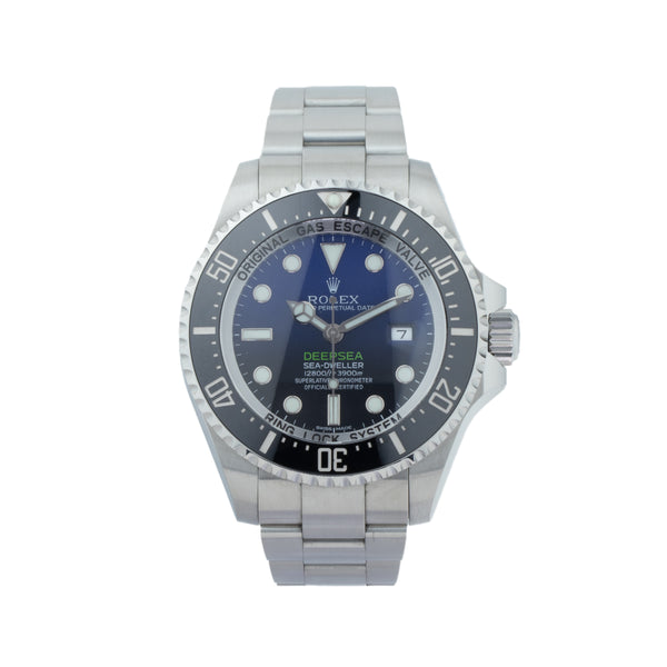 ROLEX DEEP SEA-DWELLER 116660 JAMES CAMERON . Brand Rolex Model Deep Sea-Dweller  Model Number 116660 Gender Mens/Unisex Movement Automatic 3135 Case Size 44mm Wrist Size 8.00 inches Case Material Stainless Steel Bezel Ceramic  Crystal Sapphire Bracelet Stainless Steel oyster Dial  Black/Blue Gradient dial Condition Unworn Approximate Age 2010 or Newer Box Yes Paper Yes - Card dated 04/2017 Warranty Comes with one year SLW warranty Notes ENTER Notes