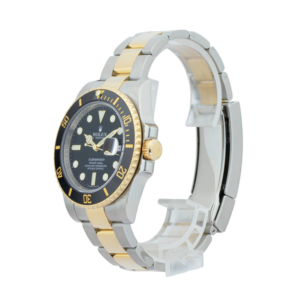 ROLEX SUBMARINER DATE 116613LN TWO-TONE . Brand Rolex Model Submariner Model Number 116613LN Gender Mens/Unisex Movement Automatic 3135 Case Size 40mm Wrist Size 7.75 inches Case Material Stainless Steel Bezel 18kt yellow gold w/ceramic insert Crystal Sapphire Bracelet Stainless Steel and 18kt Yellow Gold oyster  Dial  Black Condition Excellent Approximate Age 2010 or newer Box Comes with SLW presentation box Paper Yes - Card Dated 04/2011 Warranty Comes with one year SLW warranty Notes ENTER Notes