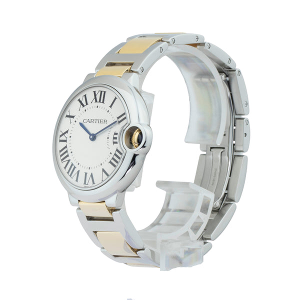 CARTIER BALLON BLEU 36MM W69011Z4 . Brand Cartier Model Ballon Bleu Model Number W69011Z4 / 3005 Gender Unisex Movement Quartz  Case Size 36mm Wrist Size 7 inches Case Material Stainless Steel Bezel Stainless Steel Crystal Sapphire Bracelet 18kt yellow gold & stainless steel Dial  Silver Condition Excellent Approximate Age 2010 - Present Box Comes with SLW Presentation Box Paper No Warranty comes with one year SLW warranty Notes ENTER Notes