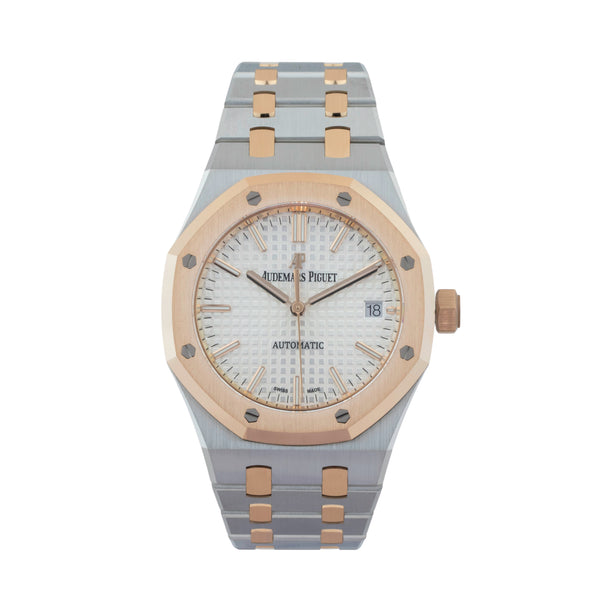 AUDEMARS PIGUET ROYAL OAK SELFWINDING 15450SR.OO.1256SR.01 . Brand Audemars Piguet Model Royal Oak Model Number 15450SR.OO.1256SR.01 Gender Mens Movement Automatic 3120 Case Size 37mm Wrist Size 7.5 inches Case Material Stainless Steel Bezel 18kt rose gold Crystal Sapphire Bracelet Stainless Steel & 18kt rose gold Dial Color Silver Grand Tapisserie Condition Unworn Approximate Age 2020 Box Yes Paper Yes Warranty Comes with one year SLW warranty Notes ENTER Notes