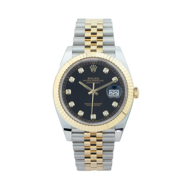 ROLEX DATEJUST 41 126333 TWO-TONE . Brand Rolex Model DateJust  Model Number 126333 Gender Men/Unisex Movement Automatic 3235 Case Size 41mm Wrist Size 7.50 inches Case Material Stainless Steel Bezel 18kt Yellow Gold Fluted Bezel  Crystal Sapphire Bracelet Stainless Steel & 18kt Yellow Gold Jubilee bracelet Dial  Original black diamond dial Condition Unworn Approximate Age 2020 Box Yes Paper Yes Warranty Comes with one year SLW warranty Notes ENTER Notes