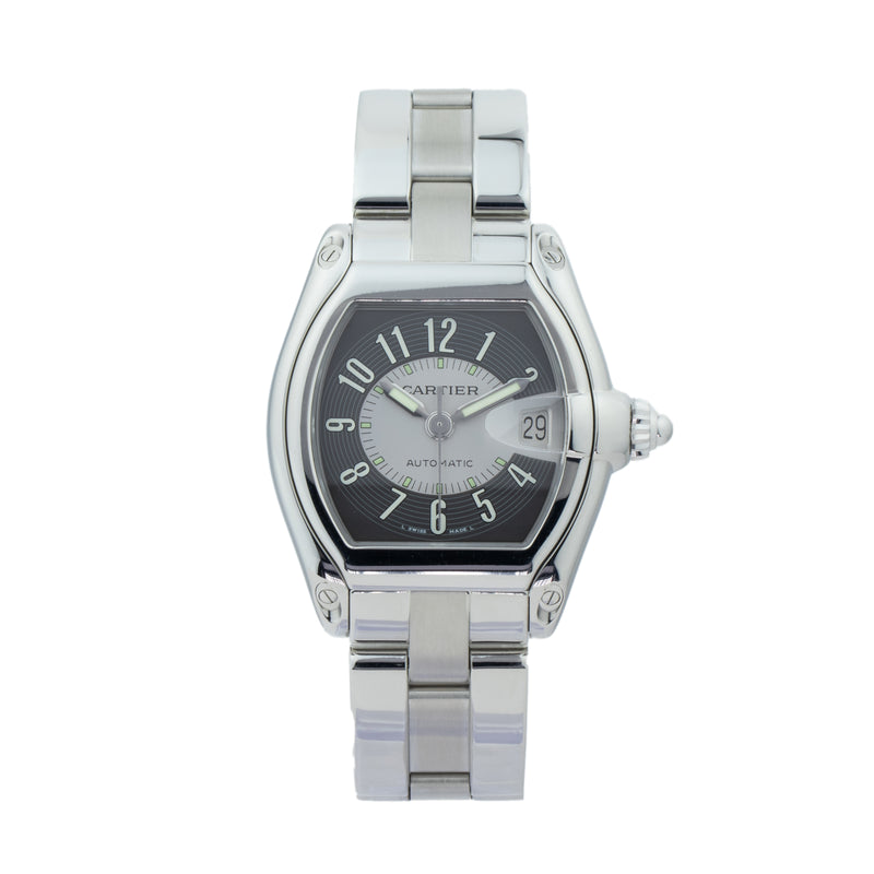 CARTIER ROADSTER LARGE W62041V3 . Brand Cartier Model Roadster Model Number W62041V3 / 2510 Gender Mens Movement Automatic Case Size 38 x 43mm Wrist Size 7.5 inches Case Material Stainless Steel Bezel Stainless Steel Crystal Sapphire Bracelet Stainless Steel Dial Color Black Sunray  Condition Excellent Approximate Age 2010 - Present Box Comes with SLW Presentation Box Paper No Warranty comes with one year SLW warranty Notes ENTER Notes