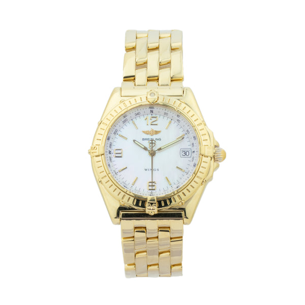 BREITLING WINGS K10050 18KT YELLOW GOLD . Brand Breitling Model Wings Model Number K10050 Gender Mens/Unisex Movement Automatic Case Size 38mm Wrist Size 8.00 inches Case Material 18kt yellow gold Bezel 18kt Yellow Gold Crystal Sapphire Bracelet 18kt yellow gold Dial Color White mother of pearl Condition Excellent Approximate Age 2000s or newer Box No Paper No Warranty Comes with one year SLW warranty Notes ENTER Notes