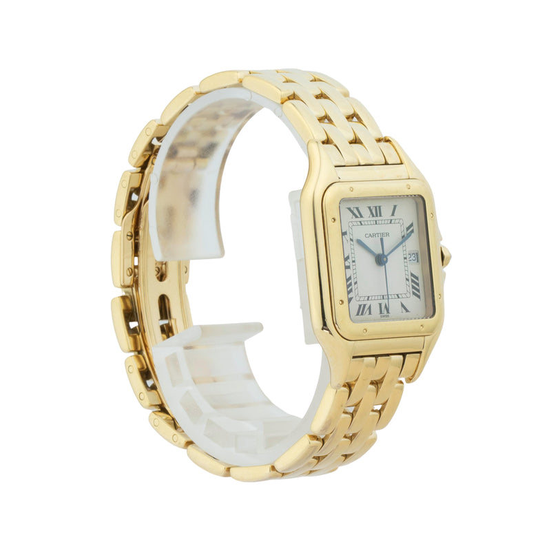 CARTIER PANTHERE MEDIUM WGPN0009 . Brand Cartier Model Panthere Model Number WGPN0009 Gender Ladies/Unisex Movement Quartz Case Size 27 x 37mm Wrist Size 7.5 inches Case Material 18kt yellow gold  Bezel 18kt yellow gold Crystal Sapphire Bracelet 18kt yellow gold Dial  Silver w/roman numerals Condition Excellent Approximate Age 2010 - Present Box Comes with SLW Presentation Box Paper No Warranty comes with one year SLW warranty Notes ENTER Notes