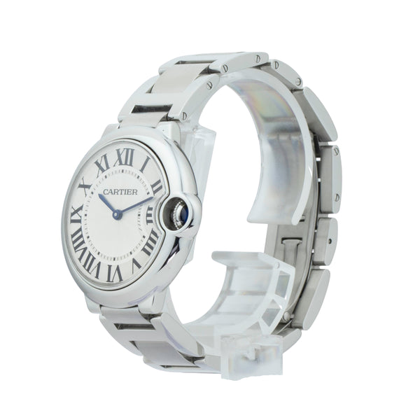 CARTIER BALLON BLEU 36MM W69011Z4 . Brand Cartier Model Ballon Bleu Model Number W69011Z4 / 3005 Gender Mens/Unisex Movement Quartz  Case Size 36mm Wrist Size 7 inches Case Material Stainless Steel Bezel Stainless Steel Crystal Sapphire Bracelet Stainless Steel Dial Color Silver Guilloche dial Condition Excellent Approximate Age 2010 - Present Box Comes with SLW Presentation Box Paper No Warranty comes with one year SLW warranty Notes ENTER Notes