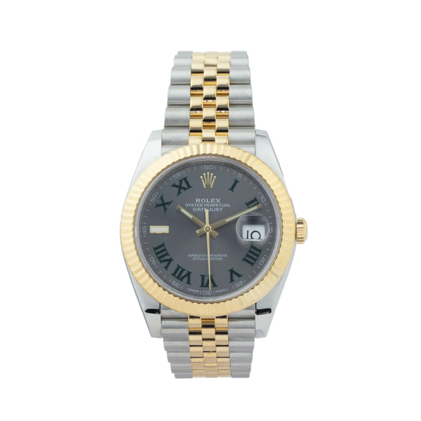 ROLEX DATEJUST 41 126333 TWO-TONE . Brand Rolex Model DateJust II Model Number 126333 Gender Men/Unisex Movement Automatic 3235 Case Size 41mm Wrist Size 7.50 inches Case Material Stainless Steel Bezel 18kt Yellow Gold Fluted Bezel  Crystal Sapphire Bracelet Stainless Steel & 18kt Yellow Gold Jubilee bracelet Dial Slate w/ green roman numerals  Condition Excellent Approximate Age 2018 or newer Box Yes Paper Yes Warranty Comes with one year SLW warranty Notes ENTER Notes
