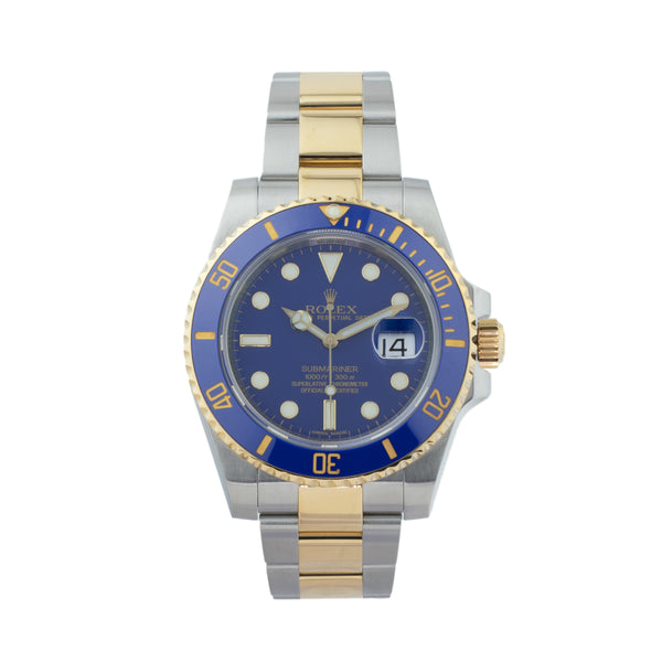 ROLEX SUBMARINER DATE 116613LB TWO-TONE . Brand Rolex Model Submariner Model Number 116613LB Gender Men Movement Automatic 3135 Case Size 40mm Wrist Size 7.75 inches Case Material Stainless Steel Bezel 18kt yellow gold w/ceramic insert Crystal Sapphire Bracelet Stainless Steel and 18kt Yellow Gold oyster  Dial  Blue Condition Excellent Approximate Age 2010 or newer Box Comes with SLW presentation box Paper Yes - Card Dated 03/2013 Warranty Comes with one year SLW warranty Notes ENTER Notes