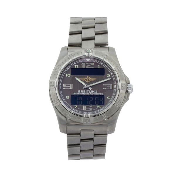 BREITLING AEROSPACE AVANTAGE E7936210/Q572 . Brand Breitling Model Aerospace Avantage Model Number E7936210/Q572 Gender Mens/Unisex Movement Quartz Case Size 42mm Wrist Size 7.75 inches Case Material Titanium Bezel Titanium Crystal Sapphire Bracelet Titanium Dial Color Guilloche bronze dial Condition Excellent Approximate Age 2015  Box Yes Paper Yes - card dated 03/2015 Warranty Comes with one year SLW warranty Notes ENTER Notes