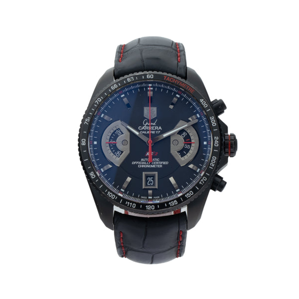 TAG-HEUER GRAND CARRERA CAV518B.CI6237173 . Brand TAG-Heuer Model Carrera Model Number CAV518B.CI6237173 Gender Mens Movement Automatic Case Size 43mm Wrist Size 8.00 inches Case Material Titanium black PVD Bezel Titanium black PVD Crystal Sapphire Bracelet Black leather crocodile w/red stitching Dial Color Black w/circular Guilloche Condition Excellent Approximate Age 2000s or newer Box Yes Paper Yes - card dated 10/2016 Warranty Comes with one year SLW warranty Notes ENTER Notes