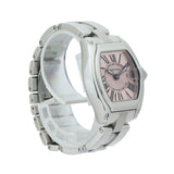 CARTIER ROADSTER SMALL W62017V3 . Brand Cartier Model Roadster Model Number W62017V / 2675 Gender Ladies Movement Automatic Case Size 31mm Wrist Size 6 inches Case Material Stainless Steel Bezel Stainless Steel Crystal Sapphire Bracelet Stainless Steel Dial  Pink Condition Excellent Approximate Age 2010 - Present Box Comes with SLW Presentation Box Paper No Warranty comes with one year SLW warranty Notes ENTER Notes