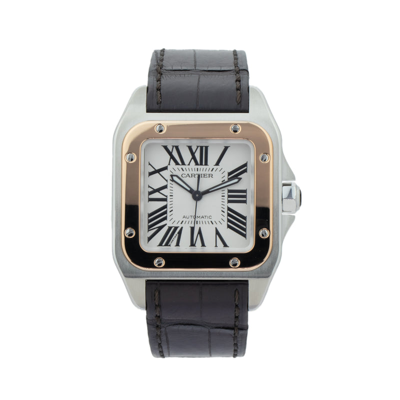 CARTIER SANTOS 100 W20107X7 . Brand Cartier Model Santos 100 Model Number W20107X7 / 2878 Gender Mens Movement Automatic Case Size 33mm Wrist Size 8 inches Case Material Stainless Steel Bezel 18Kt rose gold Crystal Sapphire Bracelet Brown crocodile strap w/deployant buckle Dial Color Silvered opaline dial Condition Excellent Approximate Age 2010 - Present Box Comes with SLW Presentation Box Paper No Warranty comes with one year SLW warranty Notes ENTER Notes