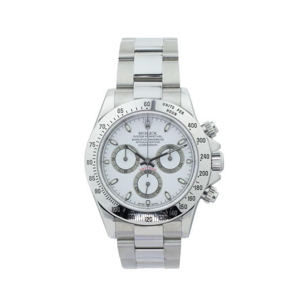 ROLEX DAYTONA 116520 . Brand Rolex Model Daytona Model Number 116520-A Gender Mens/Unisex Movement Automatic 4130 Case Size 40mm Wrist Size 7.5 inches Case Material Stainless Steel Bezel Stainless Steel Crystal Sapphire Bracelet Stainless steel oyster Dial  White Condition Excellent Approximate Age 2004 - F serial Box Comes with SLW presentation box Paper Yes - Paper dated 12/2004 Warranty Comes with one year SLW warranty Notes ENTER Notes