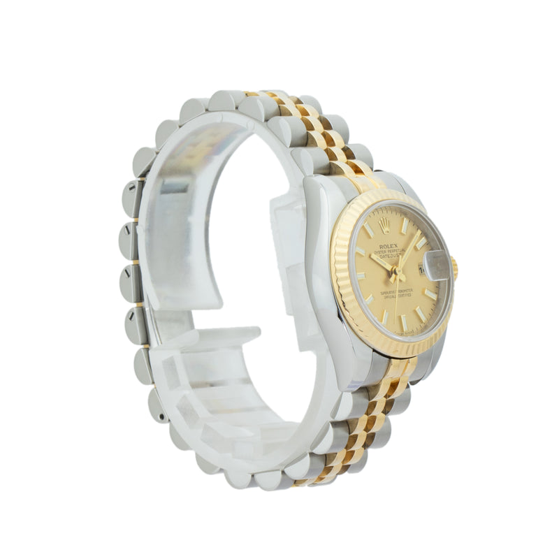 ROLEX LADIES DATEJUST 26mm 179173 . Brand Rolex Model Datejust Model Number 179173 Gender Ladies Movement Automatic 2235 Case Size 26mm Wrist Size 6 inches Case Material Stainless steel Bezel 18kt Yellow Gold Fluted bezel Crystal Sapphire  Bracelet Stainless Steel & 18kt Yellow gold Jubilee Dial  Champagne Condition Very Good Approximate Age 2003 - F serial Box Comes with SLW presentation box Paper No Warranty Comes with one year SLW warranty Notes ENTER Notes