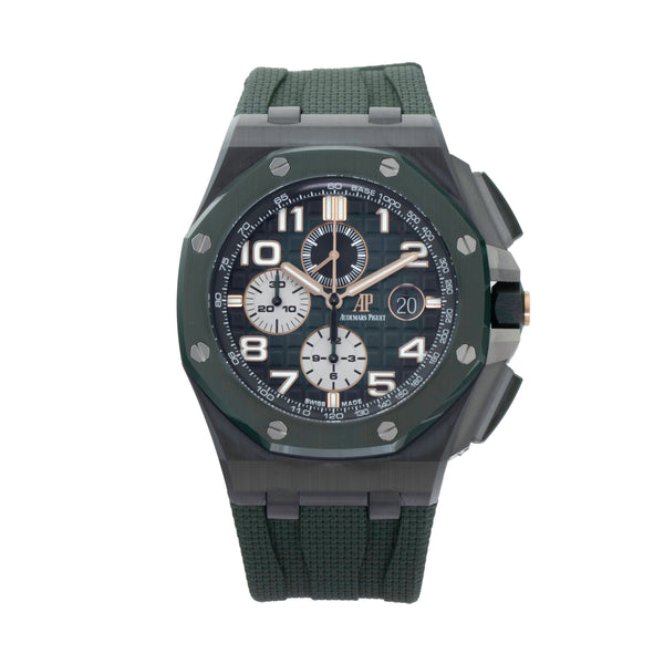 AUDEMARS PIGUET ROYAL OAK OFFSHORE CHRONOGRAPH 26405CE.OO.A056CA.01 . Brand Audemars Piguet Model Royal Oak Offshore Chronograph Model Number 26405CE.OO.A056CA.01 Gender Mens/Unisex Movement Automatic 3126 Case Size 44mm Wrist Size 8.5 inches Case Material Titanium Bezel Green ceramic bezel w/titanium pushpiece guard Crystal Sapphire Bracelet Green rubber strap w/ titanium pin buckle Dial Color Green Gradient w/ Mega Tapisserie Condition Unworn Approximate Age 2020 Box Yes Paper Yes Warranty Comes with one
