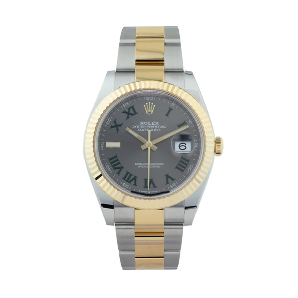 ROLEX DATEJUST 41 126333 TWO-TONE WIMBLEDON . Brand Rolex Model DateJust II Model Number 126333 Gender Men/Unisex Movement Automatic 3235 Case Size 41mm Wrist Size 7.50 inches Case Material Stainless Steel Bezel 18kt Yellow Gold Fluted Bezel  Crystal Sapphire Bracelet Stainless Steel & 18kt Yellow Gold oyster bracelet Dial Slate w/ green roman numerals  Condition Unworn Approximate Age 2020 Box Yes Paper Yes Warranty Comes with one year SLW warranty Notes ENTER Notes