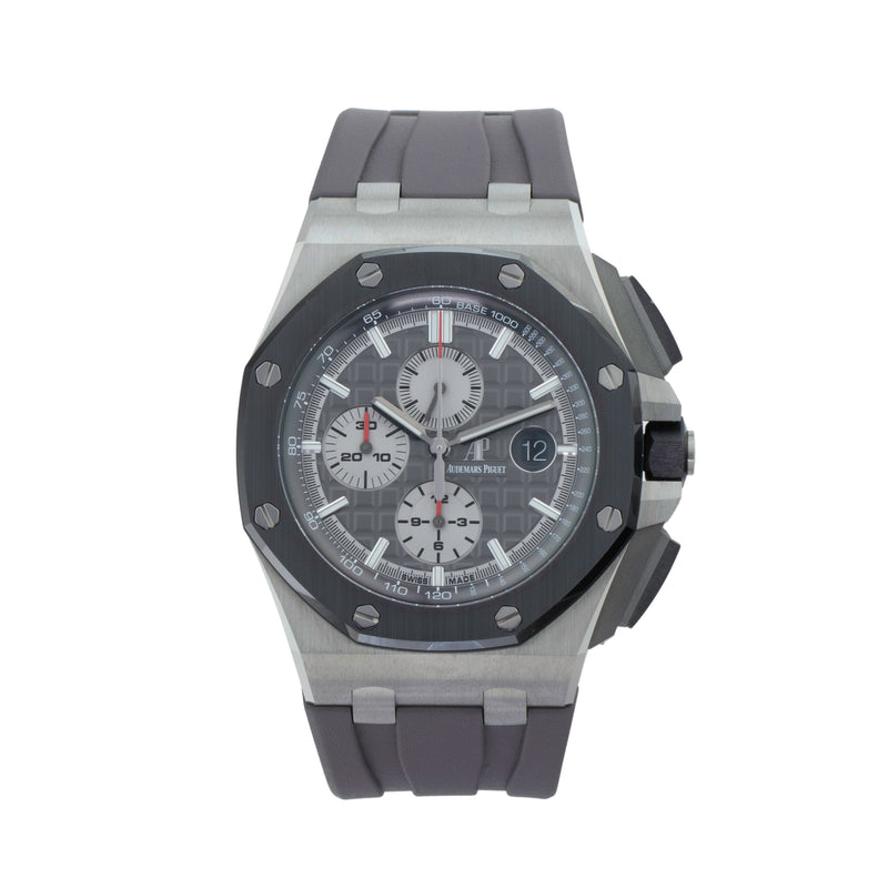 AUDEMARS PIGUET ROYAL OAK OFFSHORE CHRONOGRAPH 2640010.OO.A004CA.01 . Brand Audemars Piguet Model Royal Oak Offshore Chronograph Model Number 2640010.OO.A004CA.01 Gender Mens Movement Automatic /3126 Case Size 44mm Wrist Size 8.5 inches Case Material Titanium Bezel Black ceramic bezel w/titanium pushpiece guard Crystal Sapphire Bracelet Gray rubber strap w/titanium pin buckle Dial Color Slate gray w/ Mega Tapisserie Condition Unworn Approximate Age 2020 Box Yes Paper Yes Warranty Comes with one year SLW war
