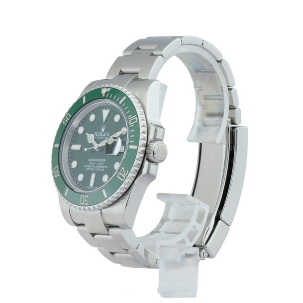 ROLEX SUBMARINER DATE 116610LV HULK . Brand Rolex Model Submariner Model Number 116610LV Gender Men/Unisex Movement Automatic 3135 Case Size 40mm Wrist Size 7.75 inches Case Material Stainless Steel Bezel Ceramic Crystal Sapphire Bracelet Stainless Steel oyster Dial  Green Condition Very Good Approximate Age 2016 or Newer  Box Yes  Paper Yes - Card dated 11/2016 Warranty Comes with one year SLW warranty Notes ENTER Notes