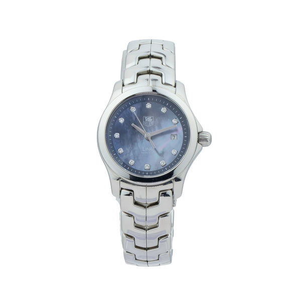 TAG-HEUER LADIES LINK WJF131F.BA0572 . Brand TAG-Heuer Model Link Model Number WJF131F Gender Ladies Movement Quartz Case Size 27mm Wrist Size 6.50 inches Case Material Stainless steel Bezel Stainless steel   Crystal Sapphire Bracelet Stainless steel  Dial Color Blue mother of pearl w/diamonds total 0.47ct  Condition Very good  Approximate Age 2000 Box Comes with SLW presentation box Paper No Warranty Comes with one year SLW warranty Notes ENTER Notes