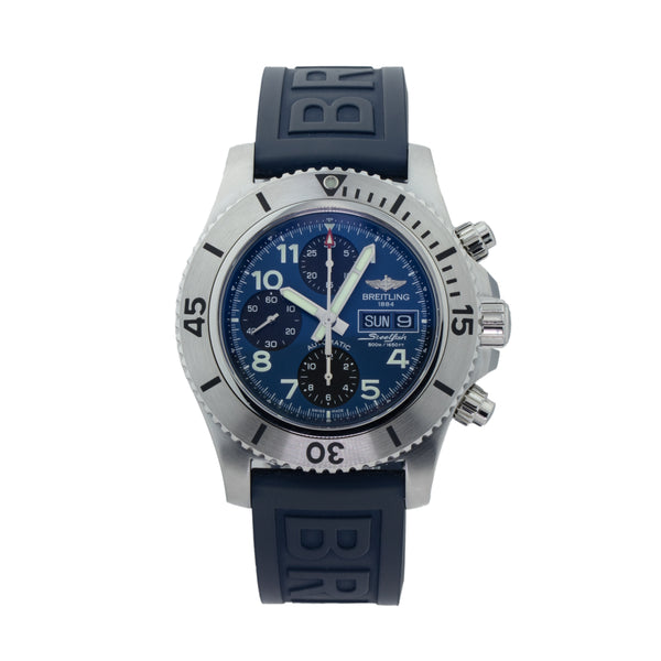 BREITLING SUPEROCEAN CHRONOGRAPH STEELFISH A13341C3/C893-158S . Brand Breitling Model Superocean Model Number A13341C3/C893-158S Gender Mens Movement Automatic Case Size 44mm Wrist Size 8.00 inches Case Material Stainless Steel Bezel Stainless Steel Crystal Sapphire Bracelet Blue Rubber  Dial Color Blue w/black chronographs Condition Unworn Approximate Age 2020 Box Yes Paper Yes Warranty Comes with one year SLW warranty Notes ENTER Notes
