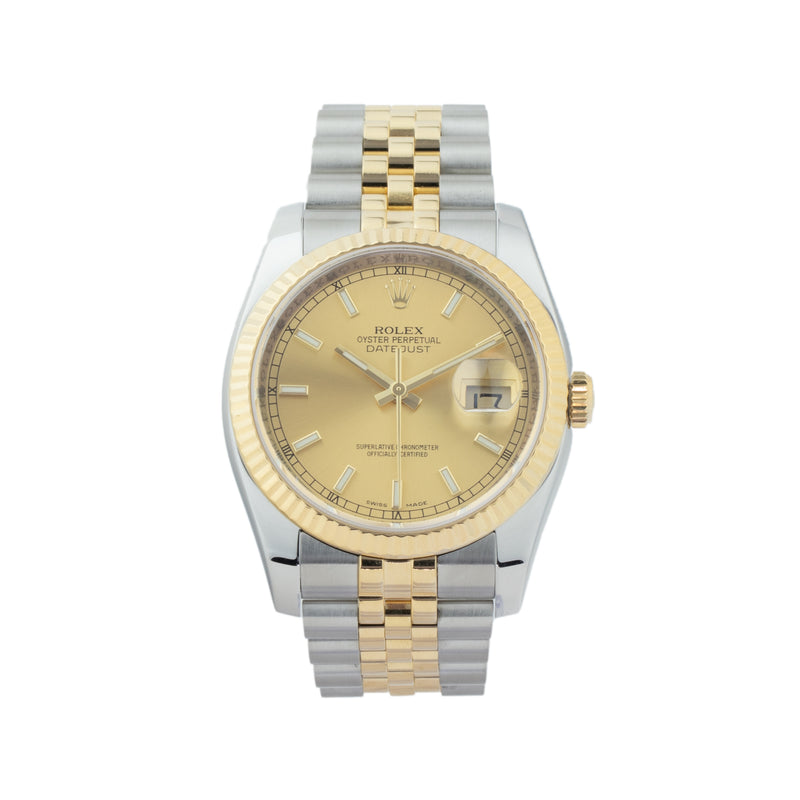 ROLEX DATEJUST 36 116233 TWO-TONE . Brand Rolex Model Datejust  Model Number 116233 Gender Mens/Unisex Movement Automatic 3135 Case Size 36mm Wrist Size 7.00 inches Case Material Stainless Steel Bezel 18kt Yellow Gold fluted bezel Crystal Sapphire Bracelet Stainless Steel and 18kt Yellow Gold jubilee Dial  Champagne Condition Very Good Approximate Age 2010 - G serial Box Comes with SLW presentation box Paper Yes - Card Dated 04/2012 Warranty Comes with one year SLW warranty Notes ENTER Notes