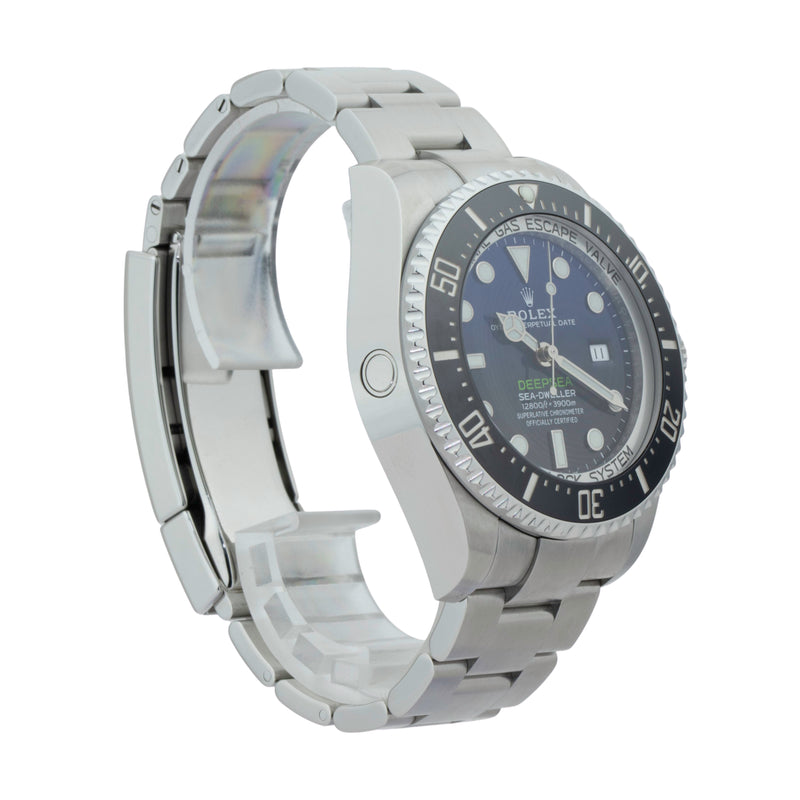 ROLEX DEEP SEA-DWELLER 126660 JAMES CAMERON . Brand Rolex Model Deep Sea-Dweller  Model Number 126660 Gender Mens/Unisex Movement Automatic 3235 Case Size 44mm Wrist Size 8.00 inches Case Material Stainless Steel Bezel Ceramic  Crystal Sapphire Bracelet Stainless Steel oyster Dial  Black/Blue Gradient dial Condition Excellent Approximate Age 2018 or Newer Box No Paper Yes  Warranty Comes with one year SLW warranty Notes ENTER Notes