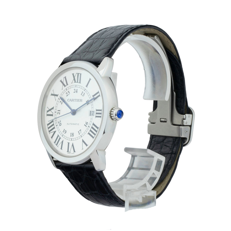 CARTIER RONDE SOLO XL W6701010 . Brand Cartier Model Ronde Solo Model Number W6701010 / 3802 Gender Mens Movement Automatic Case Size 42mm Wrist Size 8 inches Case Material Stainless Steel Bezel Stainless Steel Crystal Sapphire Bracelet Black leather strap w/deployant buckle Dial  Silver opaline dial Condition Excellent Approximate Age 2010 - Present Box Comes with SLW Presentation Box Paper Yes Warranty comes with one year SLW warranty Notes ENTER Notes
