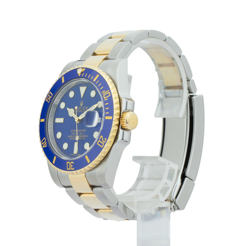 ROLEX SUBMARINER DATE 116613LB . Brand Rolex Model Submariner Model Number 116613LB Gender Mens/Unisex Movement Automatic 3135 Case Size 40mm Wrist Size 7.75 inches Case Material Stainless Steel Bezel 18kt yellow gold w/ ceramic insert Crystal Sapphire Bracelet Stainless Steel and 18kt Yellow Gold Dial  Blue Condition Excellent Approximate Age 2010 or Newer Box Comes with SLW presentation box Paper Yes - Card Dated 09/2012 Warranty Comes with one year SLW warranty Notes ENTER Notes