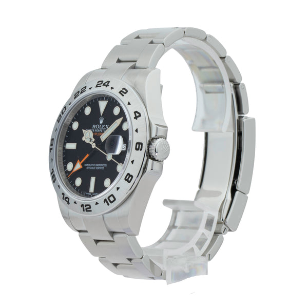 ROLEX EXPLORER II 216570 . Brand Rolex Model Explorer II Model Number 216570 Gender Mens/Unisex Movement Automatic 3187 Case Size 42mm Wrist Size 8 inches Case Material Stainless Steel Bezel Stainless Steel Crystal Sapphire Bracelet Stainless Steel oyster Dial  Black Condition Excellent Approximate Age 2011 Box Comes with SLW presentation box Paper Yes - card dated 12/2011 Warranty Comes with one year SLW warranty Notes ENTER Notes