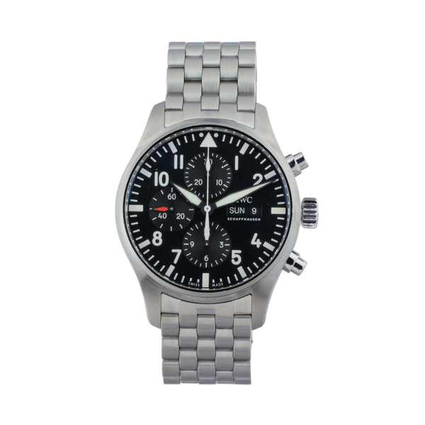 IWC PILOT CHRONOGRAPH IW377710 . Brand IWC Model IWC Pilot Chronograph Model Number IW377710 Gender Mens Movement Automatic Case Size 46mm Wrist Size 8.25 inches Case Material Stainless steel Bezel Stainless steel Crystal Sapphire Bracelet Stainless steel Dial Color Black Condition Excellent Approximate Age 2019 Box Yes Paper Yes - card dated 09/2019 Warranty Comes with one year SLW warranty Notes ENTER Notes