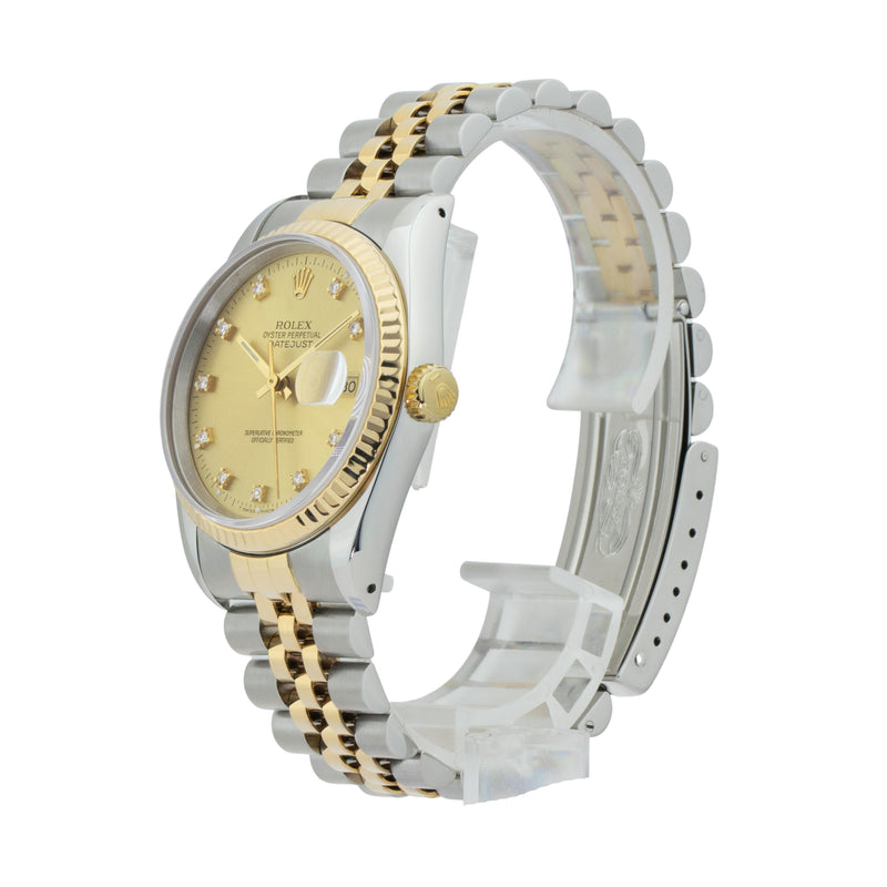 ROLEX DATEJUST 36 16233 TWO-TONE . Brand Rolex Model Datejust 36 Model Number 16233 Gender Mens/Unisex Movement Automatic 3135 Case Size 36mm Wrist Size 7.25 inches Case Material Stainless Steel Bezel 18kt Yellow Gold Fluted Bezel Crystal Sapphire Bracelet Stainless Steel and 18kt Yellow Gold Dial  Champagne w/diamond dial Condition Very Good Approximate Age 1990 - E serial Box Comes with SLW presentation box Paper No Warranty Comes with one year SLW warranty Notes ENTER Notes