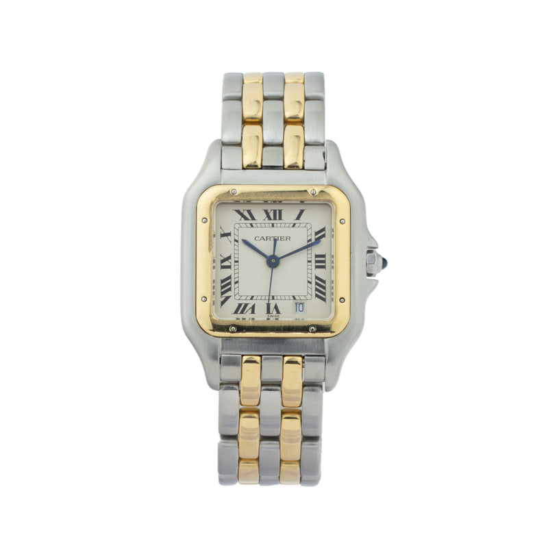 CARTIER PANTHERE MEDIUM W2PN0007 . Brand Cartier Model Panthere Model Number W2PN0007 Gender Unisex Movement Quartz Case Size 27 x 37mm Wrist Size 7.5 inches Case Material Stainless steel Bezel 18kt yellow gold Crystal Sapphire Bracelet 18kt yellow gold & stainless steel Dial  Silver w/roman numerals Condition Very Good Approximate Age 2010 - Present Box Comes with SLW Presentation Box Paper No Warranty comes with one year SLW warranty Notes ENTER Notes