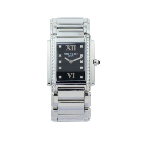 PATEK PHILLIPE TWENTY-4 LADIES BLACK DIAMOND DIAL 4910-10 . Brand Patek Phillipe Model Twenty-4 Model Number 4910-10a-001 Gender Ladies Movement Quartz Case Size 25x30mm Wrist Size 6 inches Case Material Stainless Steel Bezel Original Patek Phillipe diamond bezel Crystal Sapphire Bracelet Stainless Steel Dial Color Black w/diamond markers & roman numerals Condition Excellent Approximate Age 2000 or newer Box No Paper No Warranty Comes with one year SLW warranty Notes ENTER Notes