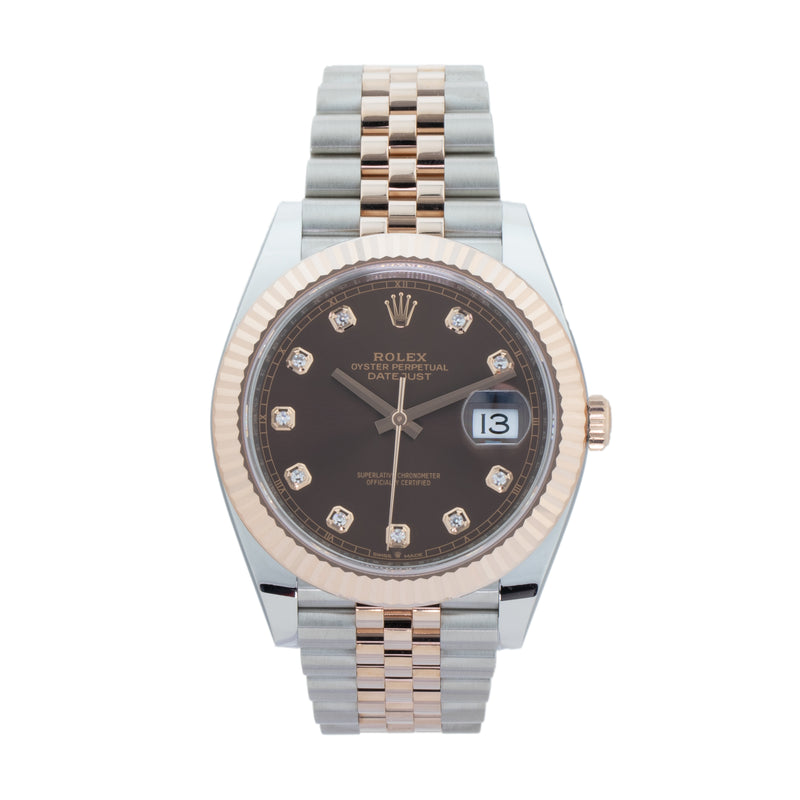 ROLEX DATEJUST 41 126331 TWO-TONE . Brand Rolex Model Datejust Model Number 126331 Gender Men/Unisex Movement Automatic 3235 Case Size 41mm Wrist Size 8.00 inches Case Material Stainless Steel Bezel 18kt Rose Gold fluted bezel Crystal Sapphire Bracelet Stainless Steel & 18kt Rose Gold jubilee bracelet Dial Color Original Chocolate w/ Diamond hour markers Condition New/Unworn Approximate Age 2018 or newer Box Yes Paper Yes Warranty Comes with one year SLW warranty Notes ENTER Notes