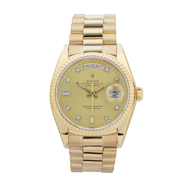 ROLEX DAY-DATE 36 18038 . Brand Rolex Model Day-Date 36 Model Number 18038 Gender Men/Unisex Movement Automatic 3055 Case Size 36mm Wrist Size 7.25 inches Case Material Yellow Gold 18kt Bezel Yellow Gold 18kt Crystal Sapphire Bracelet Yellow Gold 18kt Dial Color Original Champagne Diamond Dial Condition Very Good Age 1980 - 65xx Box Comes with SLW presentation box Paper No Warranty Comes with one year SLW warranty Notes ENTER Notes
