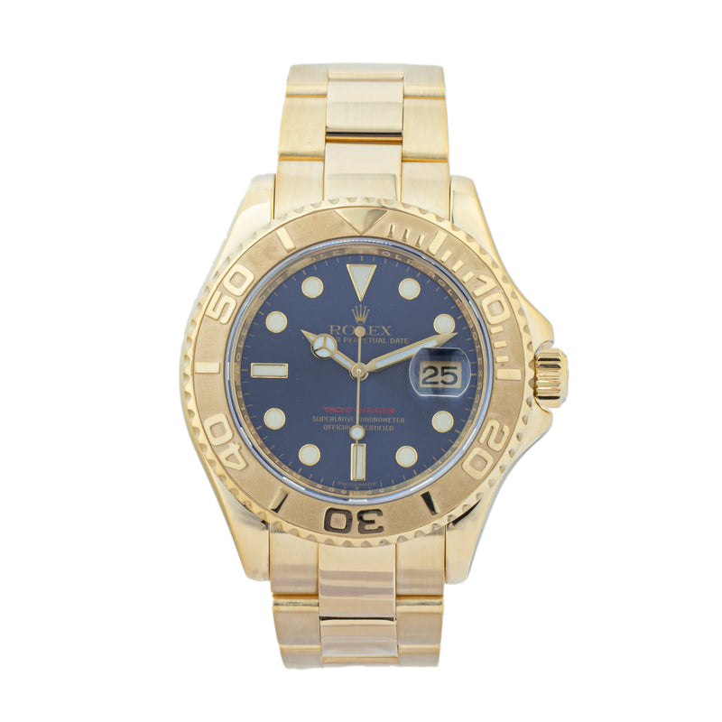 ROLEX YACHT-MASTER 16628B . Brand Rolex Model Yacht-Master Model Number 16628B Gender Mens/Unisex Movement Automatic 3135 Case Size 40mm  Wrist Size 7.50 inches Case Material Yellow gold 18kt Bezel Yellow gold 18kt Crystal Sapphire  Bracelet Yellow gold 18kt Dial Color Blue Condition Excellent Approximate Age 2006 - Z serial Box No Paper No Warranty Comes with one year SLW warranty Notes ENTER Notes