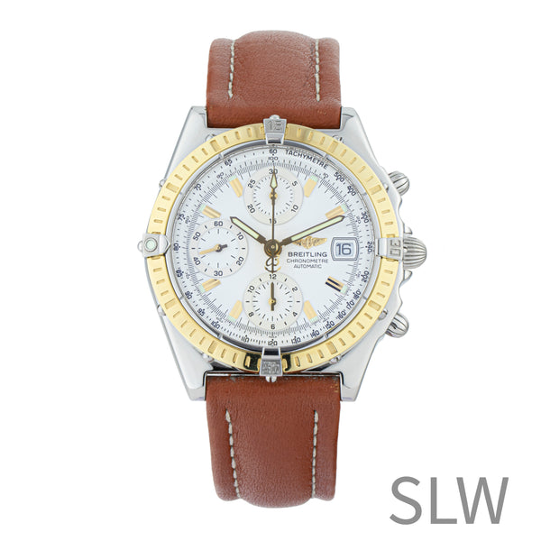 BREITLING CHRONOMAT D13352 . Brand Breitling Model Chronomat Model Number D13352 Gender Mens/Unisex Movement Breitling 13 Case Size 39mm Wrist Size 8.00 inches Case Material Stainless Steel Bezel 18kt Yellow Gold Crystal Sapphire Bracelet Leather Strap w/ folding clasp Dial Color White Condition Excellent Approximate Age 2000s or newer Box No Paper No Warranty Comes with one year SLW warranty Notes ENTER Notes