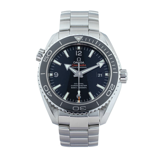 OMEGA SEAMASTER 600M PLANET OCEAN CO-AXIAL 232.30.46.21.01.001 . Brand Omega Model Seamaster Planet Ocean 600m Model Number 232.30.46.21.01.001 Gender Mens Movement Automatic Case Size 45.5mm Wrist Size 7.25 inches Case Material Stainless Steel Bezel Stainless steel w/ceramic insert Crystal Sapphire Bracelet Stainless steel Dial Color Black Condition Excellent Approximate Age 2013 Box Comes with SLW presentation box Paper Yes - card dated 08/2013 Warranty comes with one year SLW warranty Notes ENTER Notes