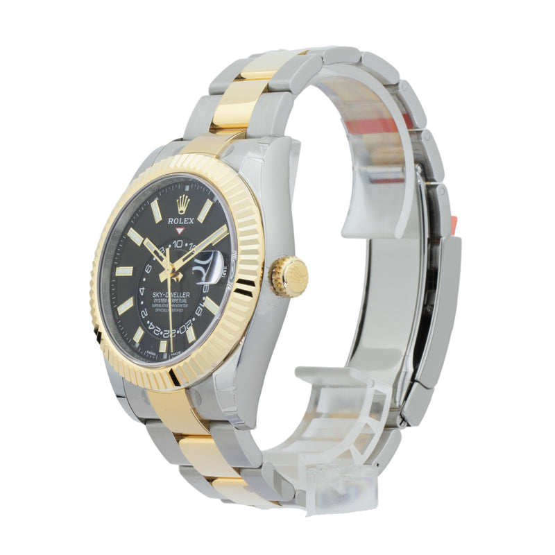 ROLEX SKY-DWELLER 326933 TWO-TONE . Brand Rolex Model Sky-Dweller Model Number 326933 Gender Mens/Unisex Movement Automatic 9001 Case Size 42mm  Wrist Size 8 inches Case Material Stainless steel Bezel 18kt Yellow Gold fluted bezel Crystal Sapphire Bracelet 18kt Yellow Gold & Stainless Steel oyster Dial  Black Condition Unworn Approximate Age 2016 or newer Box Yes Paper Yes - 2020 Warranty Comes with one year SLW warranty Notes ENTER Notes