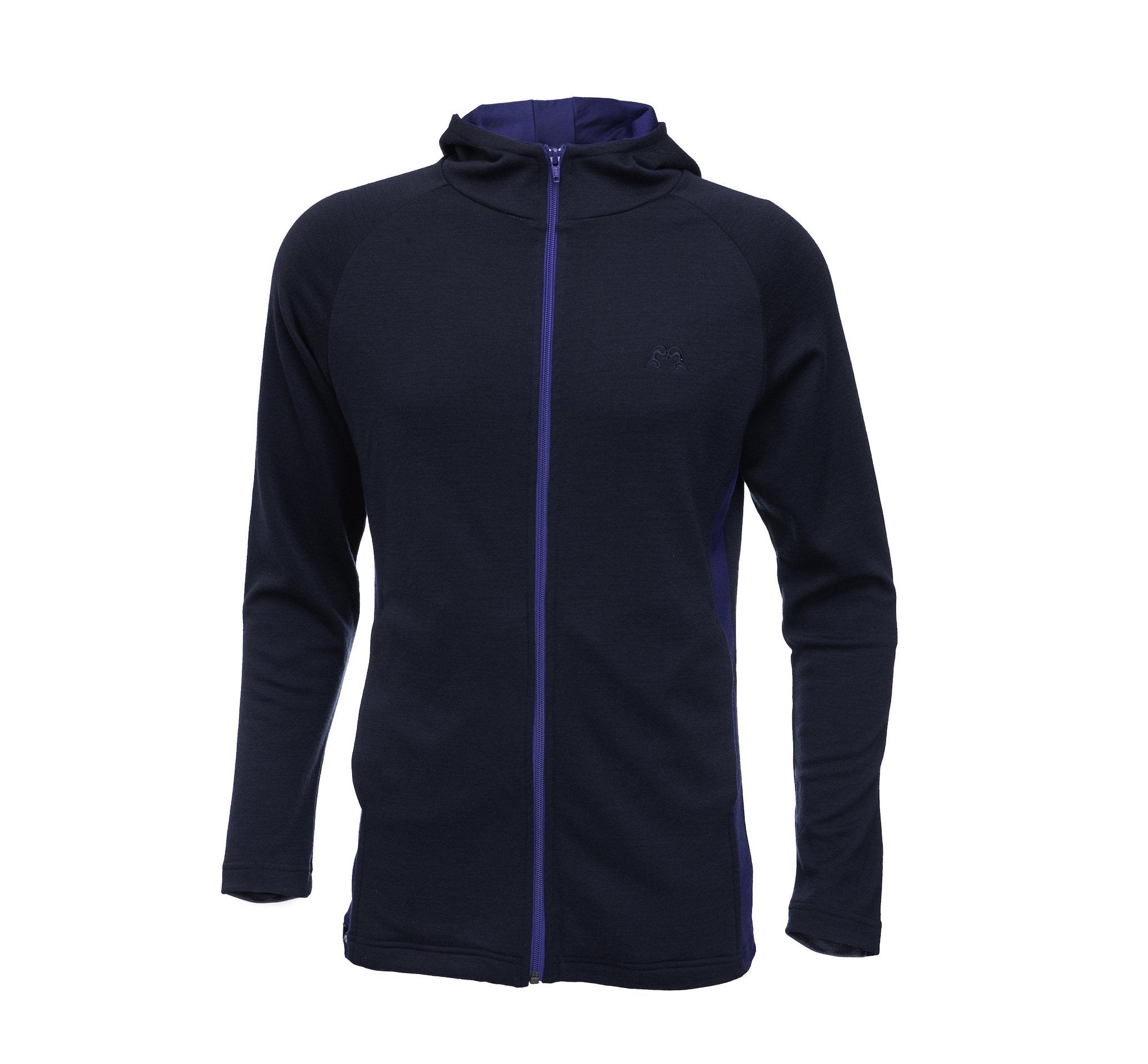 Men's Merino Wool Akaroa Long Sleeve Zip Hoodie - Navy & Indigo