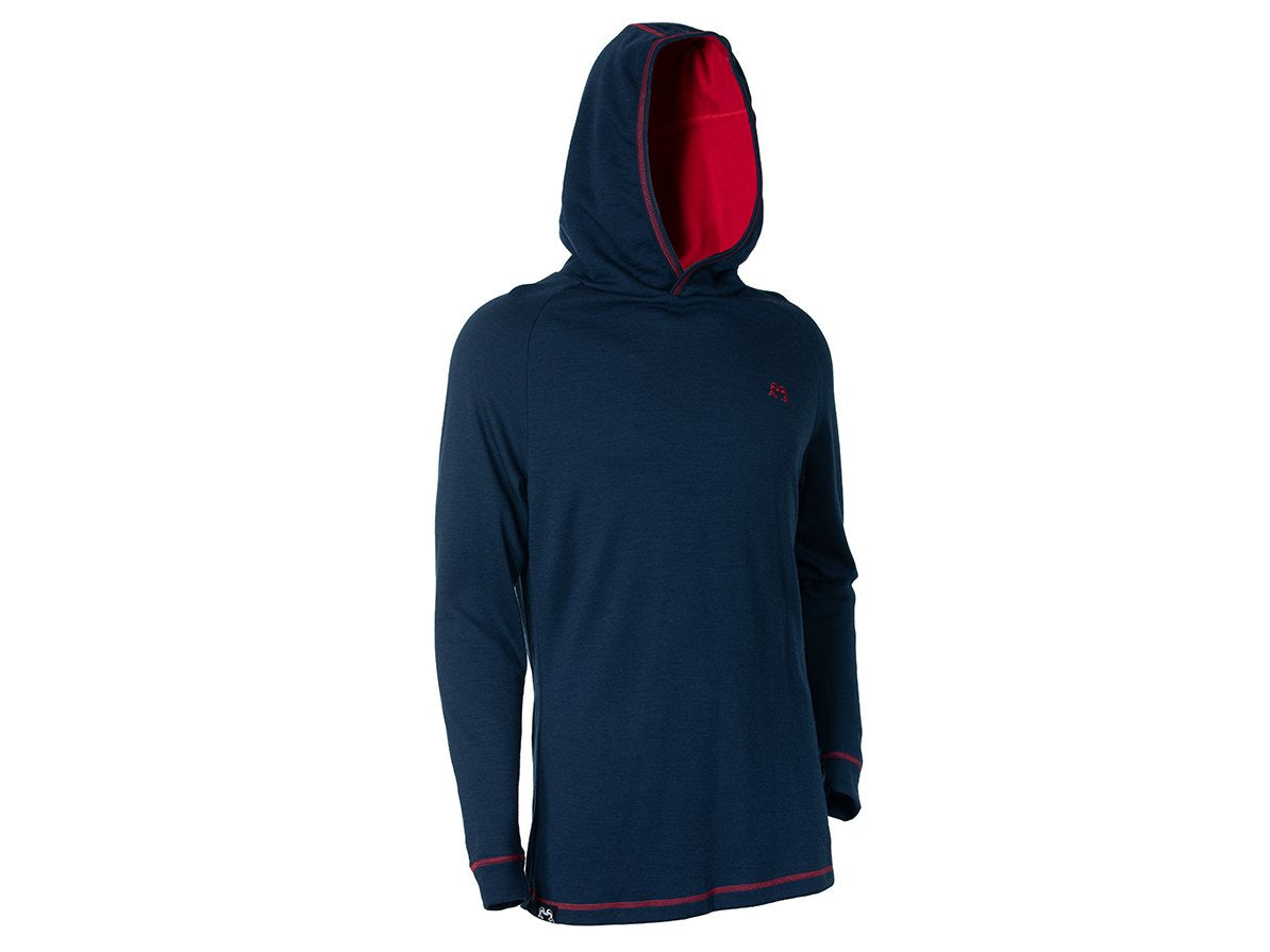 True Fleece MeTrue Fleece Men's merino wool 300 MacKenzie Hoodie - Navy & Red
