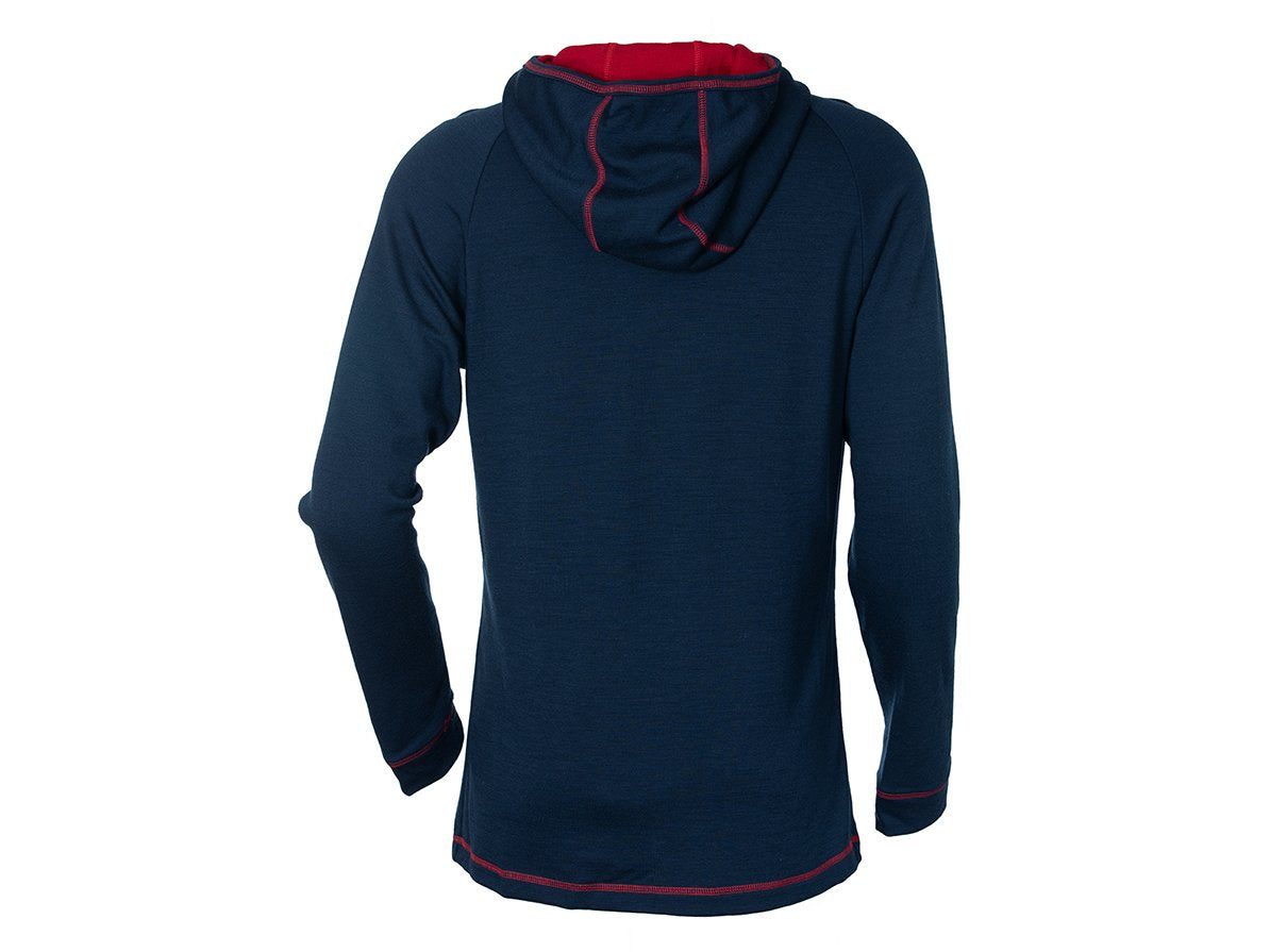 True Fleece Men's merino wool 300 MacKenzie Hoodie - Navy & Red
