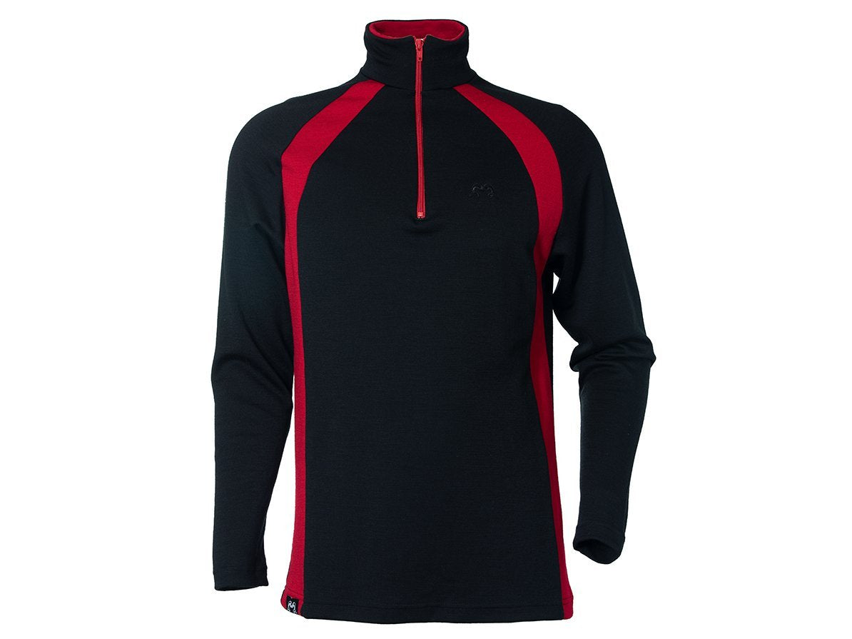 True Fleece Men's merino wool 300 Hilltop quarter zip pullover - Black & Red
