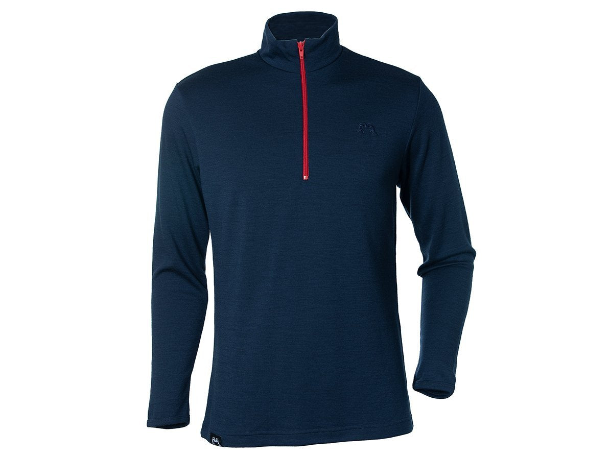 True Fleece Men's Merino 300 Coast quarter zip pullover - Navy & Red