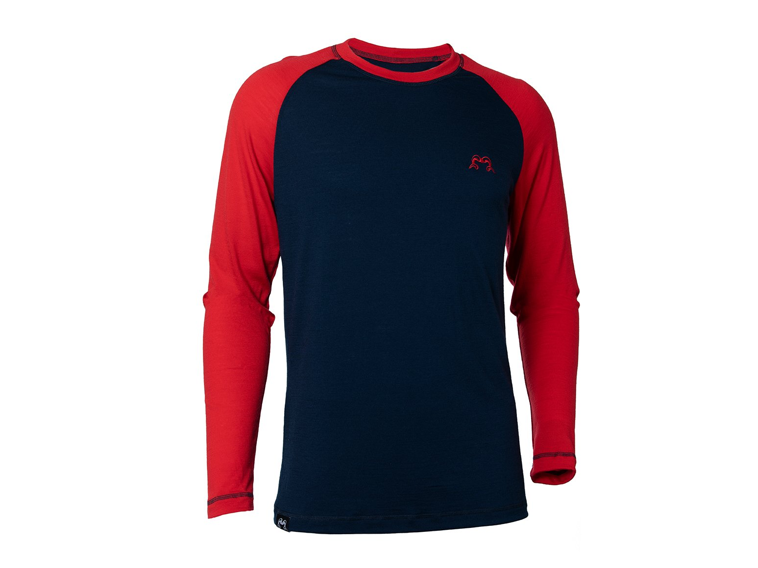True Fleece Men's merino wool 200 long sleeve base layer top - Navy & Red