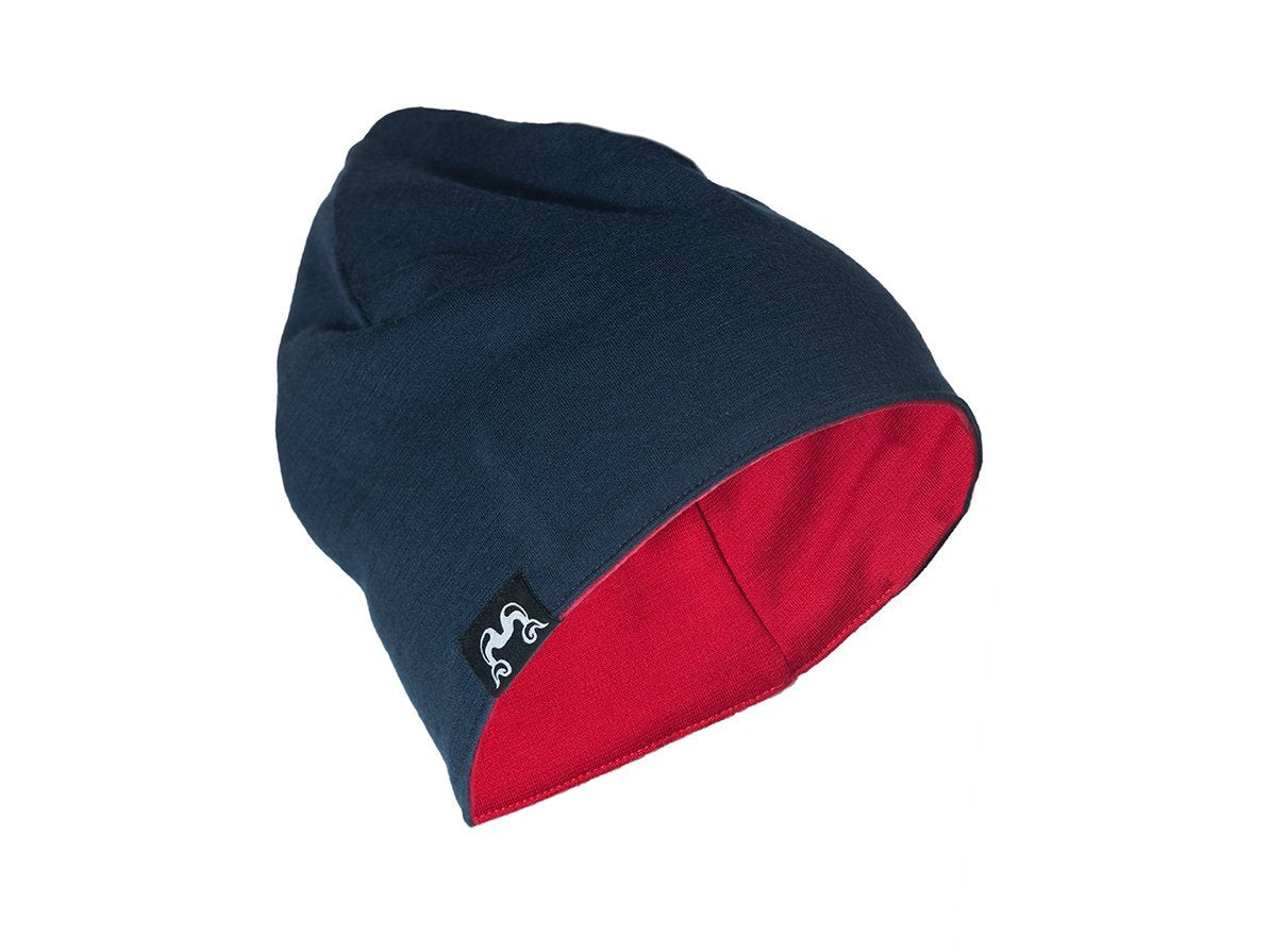 True Fleece Merino kids' beanie - Navy/Red